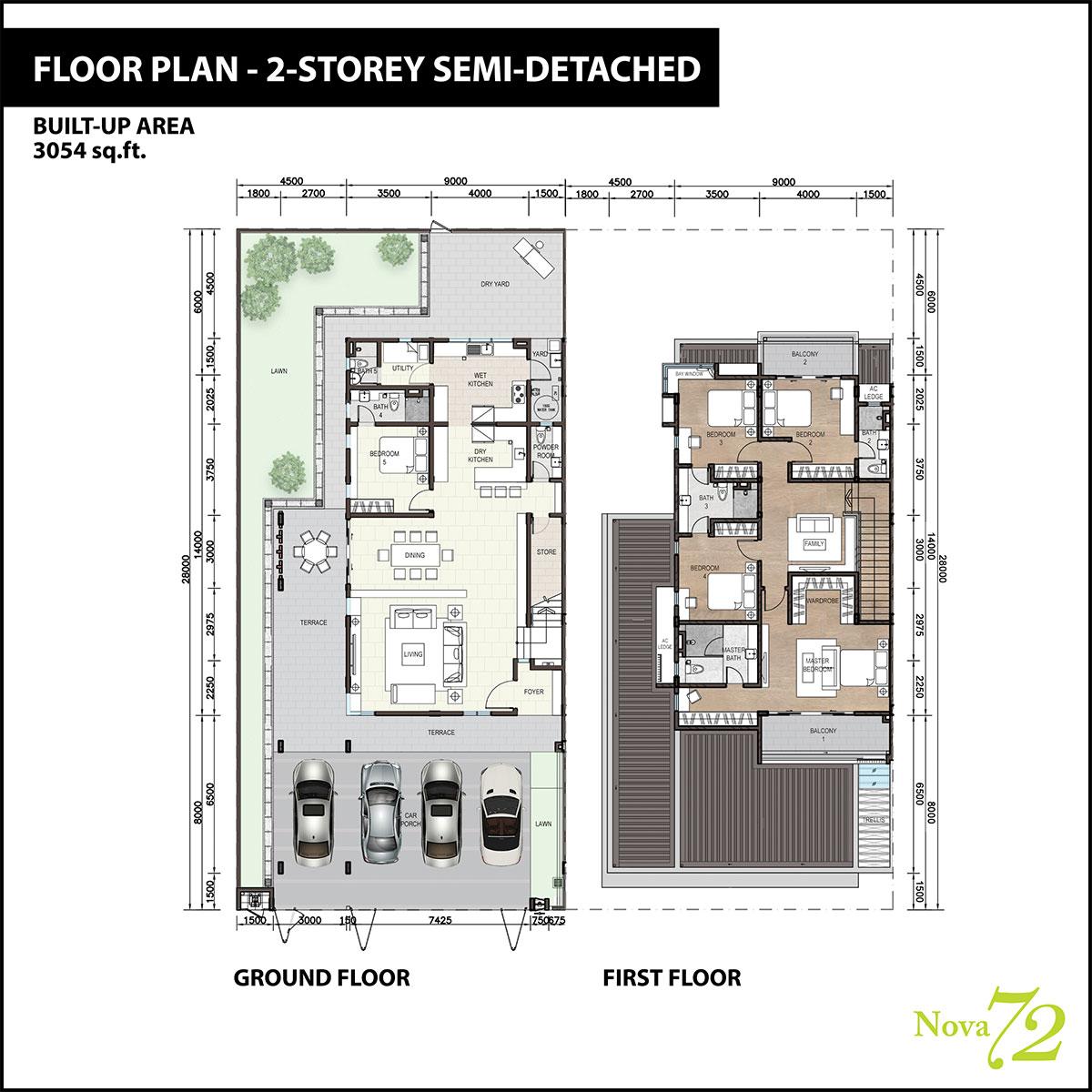 2-storey Semi-D Floor Plan