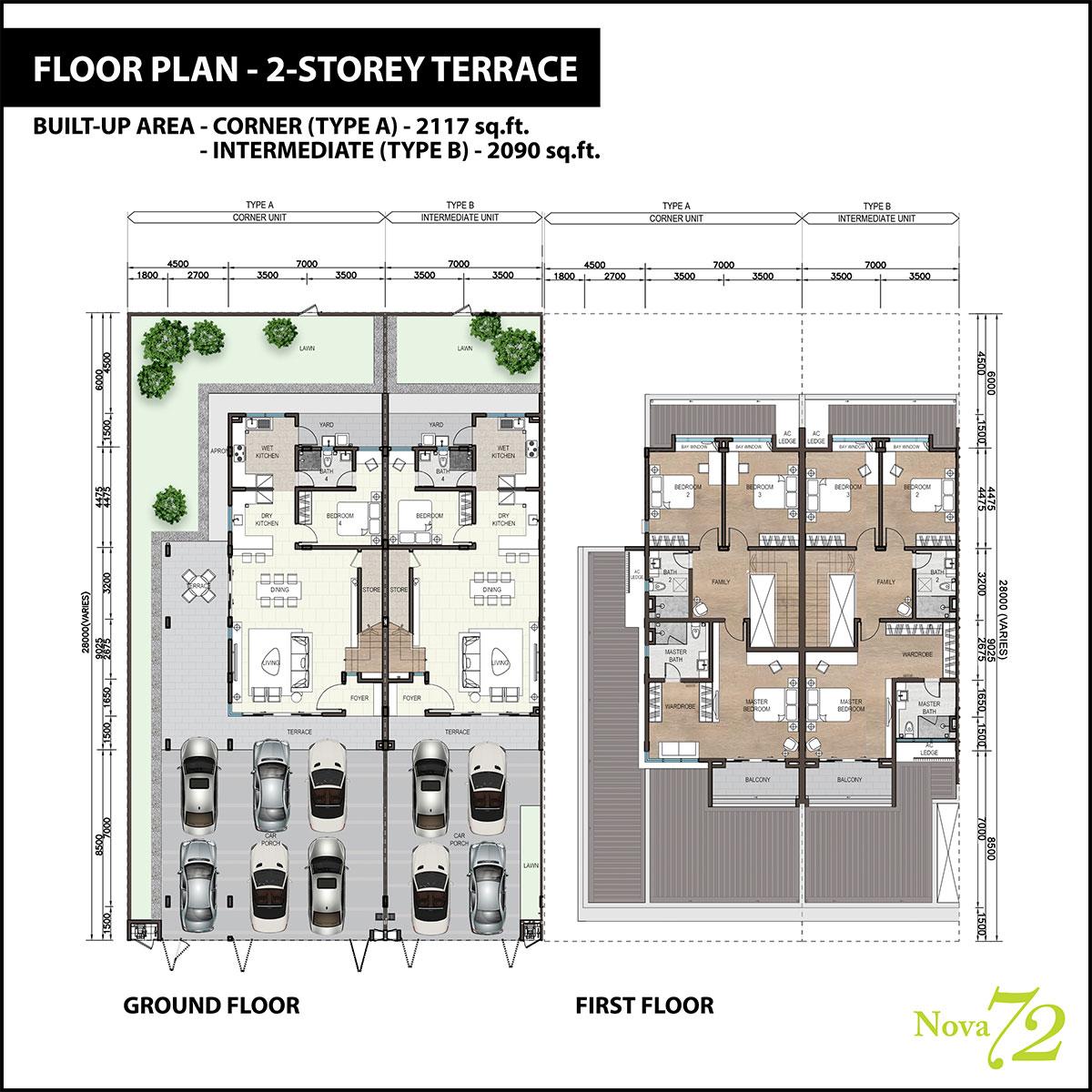 2-storey Terrace Floor Plan