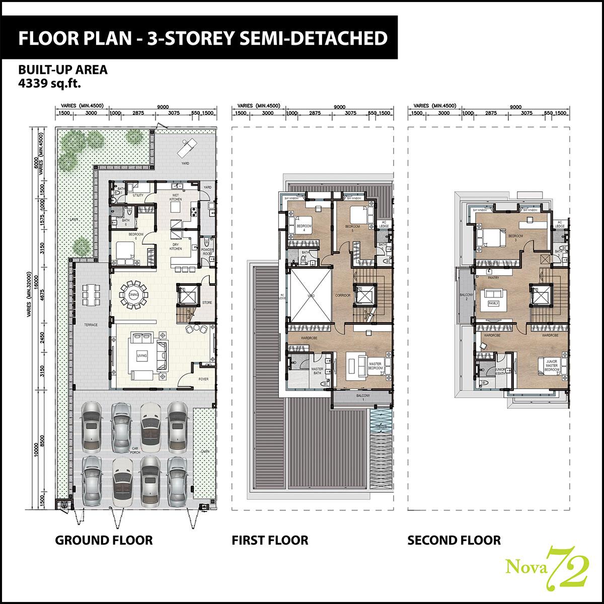 3-storey Semi-D Floor Plan